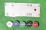 deck of cards and casino chips