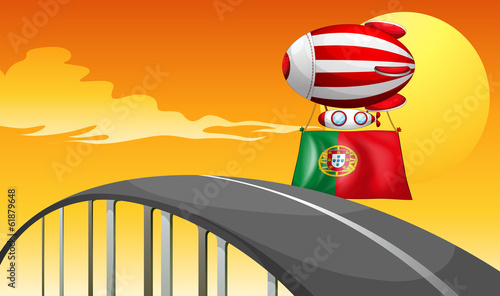 The flag of Portugal carried by the floating balloon