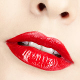 close-up shot of woman's lips