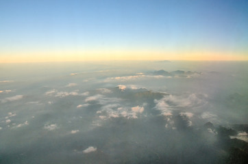 View of a Mountain Landscape from Airplane
