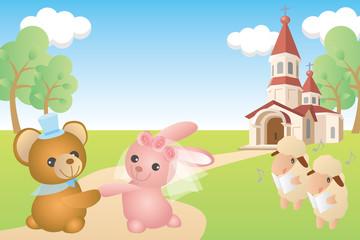 クマとウサギの結婚式