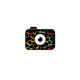 Photography logo- digital camera with colorful polaroids poster