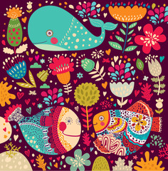 Print with undersea life. Vector pattern