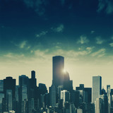 Day falls over the City, abstract urban backgrounds