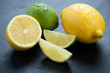 Lemons and limes, close-up, horizontal shot