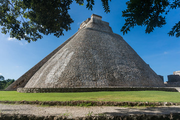 Side view of Pyramid of the Magician (Adivino)  in Uxmal, Mexico