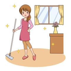 女性/掃除
