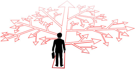 Business person confusing decisions path