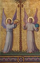 Vienna - symbolic angels fresco  in Carmelites church