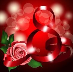 8 из красных лент на красном фоне