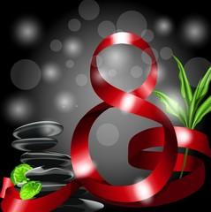 8 из красных лент на черном фоне