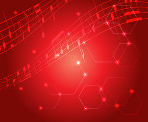 bright red music background with gradient - vector