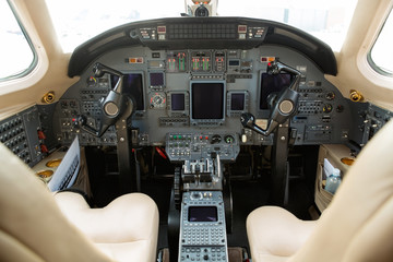 Cockpit Of Private Business Jet