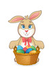 Easter bunny rabbit with basket full of eggs