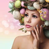 Easter Woman. Spring Girl with Fashion Hairstyle. Portrait