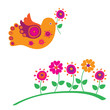 Bird and spring flowers. Vector illustration.