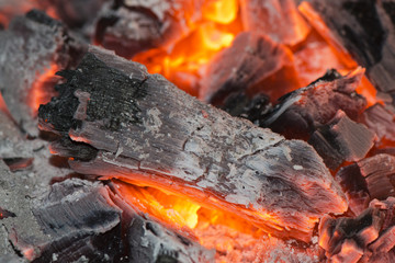 wood embers detail