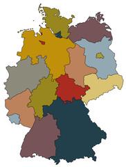 Deutschlandkarte - Bundesländer farbig