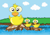 Mother duck and her ducklings vector cartoon