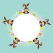 Easter Bunnies Round Frame Retro