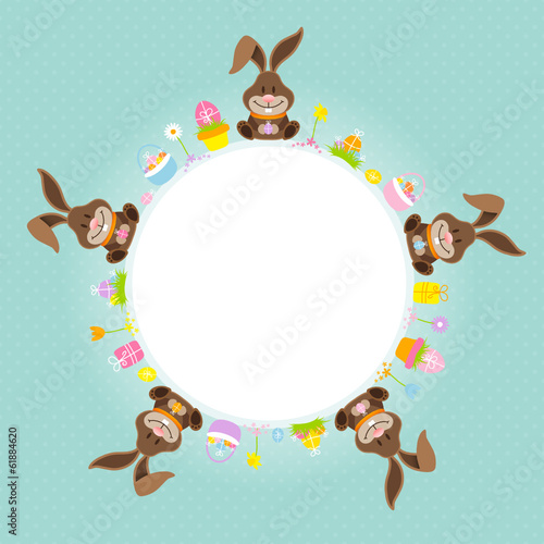 Easter Bunnies Round Frame Retro