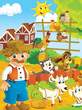 Cartoon farm - illustration for the children