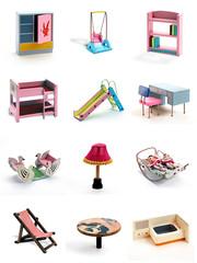 昭和の木製おもちゃコラージュ