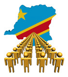 people with Democratic Republic of Congo map flag illustration