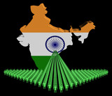 Arrow of people with India map flag illustration