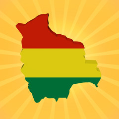 Bolivia map flag on sunburst illustration