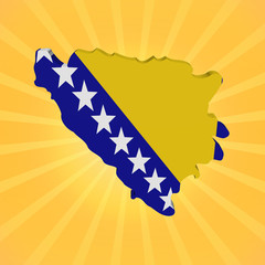 Bosnia map flag on sunburst illustration