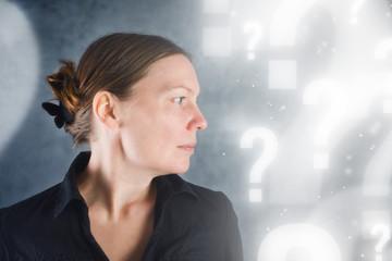 Portrait of beautiful woman questioning