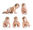 Set of crawling baby wearing diaper. Isolated on white bakground