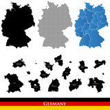Collection of maps of Germany – black, halftone, blue