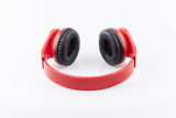 Red Earphones with black pading isolate
