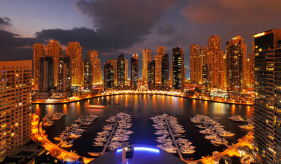 Dubai Marina at Dusk showing numerous skyscrapers