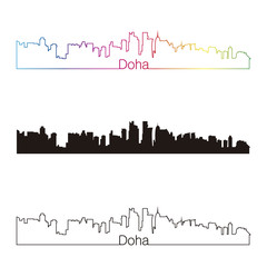Doha skyline linear style with rainbow