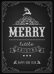 Christmas And New Year Background With Typography On Blackboard