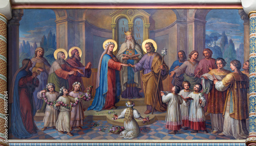 Foto op Canvas Wenen Vienna - Wedding of Mary and Joseph in Carmelites church