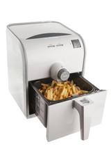 Isolate Electric fryer with full basket of french fries
