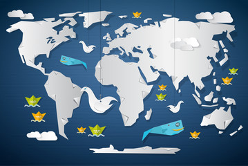 Vector Paper World Map Illustration  with Fish, Birds and Boats
