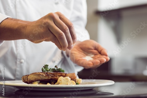 Closeup mid section of a chef putting salt