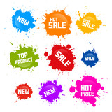 Vector Colorful Sale Blots Icons Isolated on White Background