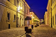 Historic house at night scene in Zamosc, Poland.