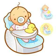 Baby playing in baby Car Seats. Home and Family Character Design