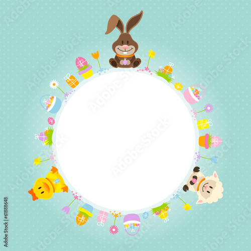 Bunny, Duck & Sheep Round Frame Retro