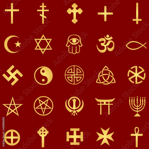 vector set of gold religious symbols on red background