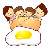 Large Egg and Family Mascot. Home and Family Character Design Se