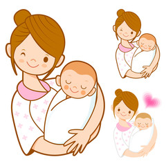 The mother holding newborn infant. Home and Family Character Des