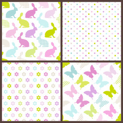 4 Seamless Pattern Easter Bunny & Butterfly Retro